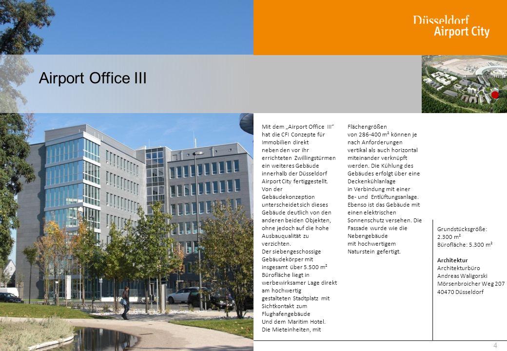 Airport Office III Die Mieteinheiten, mit Flächengrößen