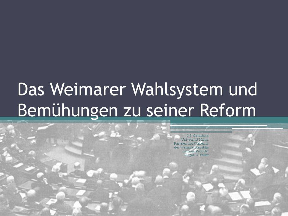 Das Weimarer Wahlsystem und Bemühungen zu seiner Reform