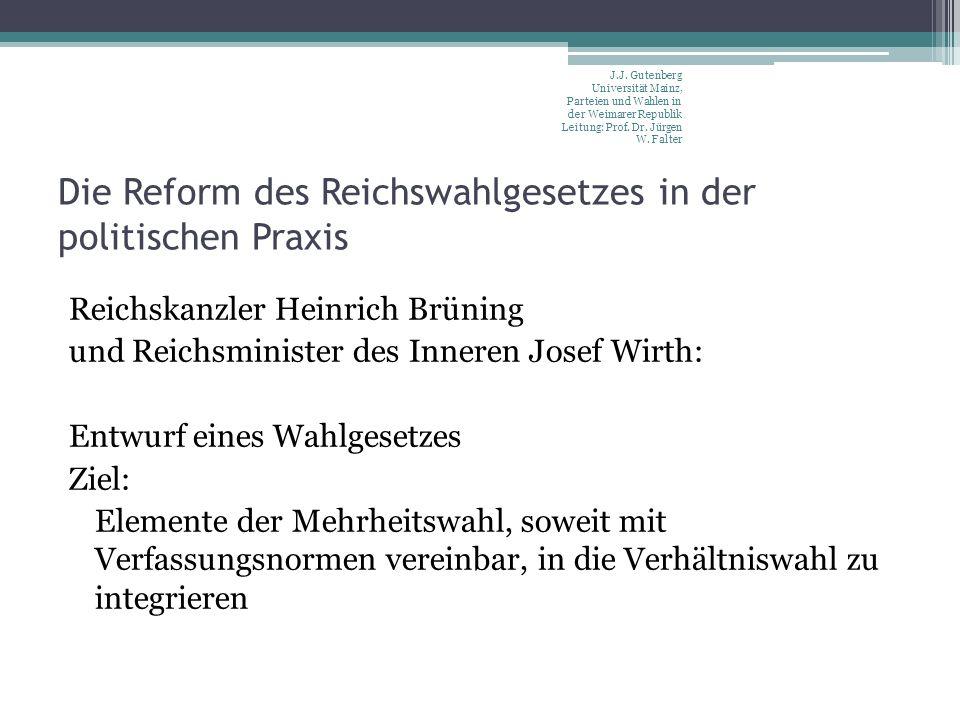 Die Reform des Reichswahlgesetzes in der politischen Praxis