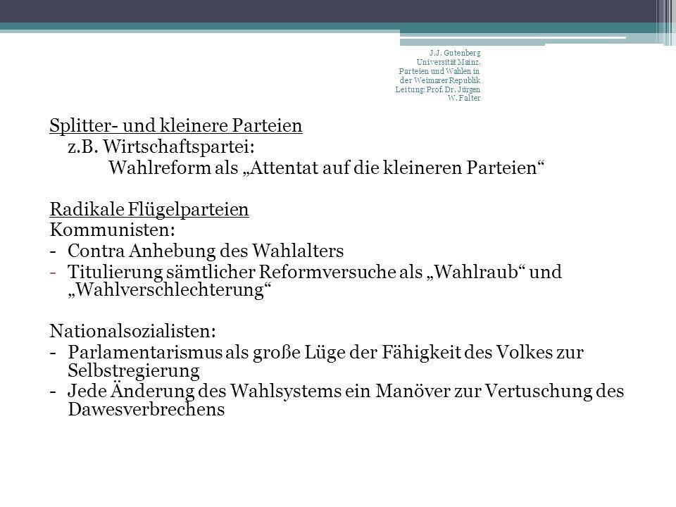 Splitter- und kleinere Parteien z.B. Wirtschaftspartei: