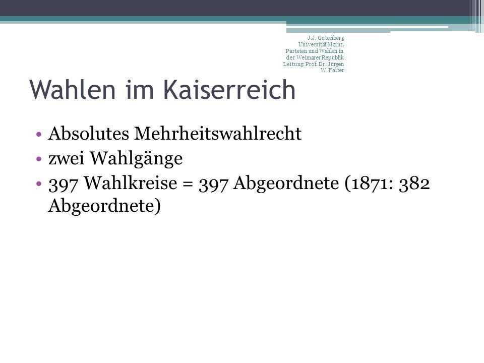 Wahlen im Kaiserreich Absolutes Mehrheitswahlrecht zwei Wahlgänge