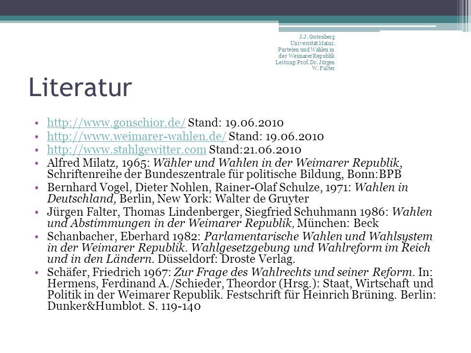 Literatur http://www.gonschior.de/ Stand: 19.06.2010