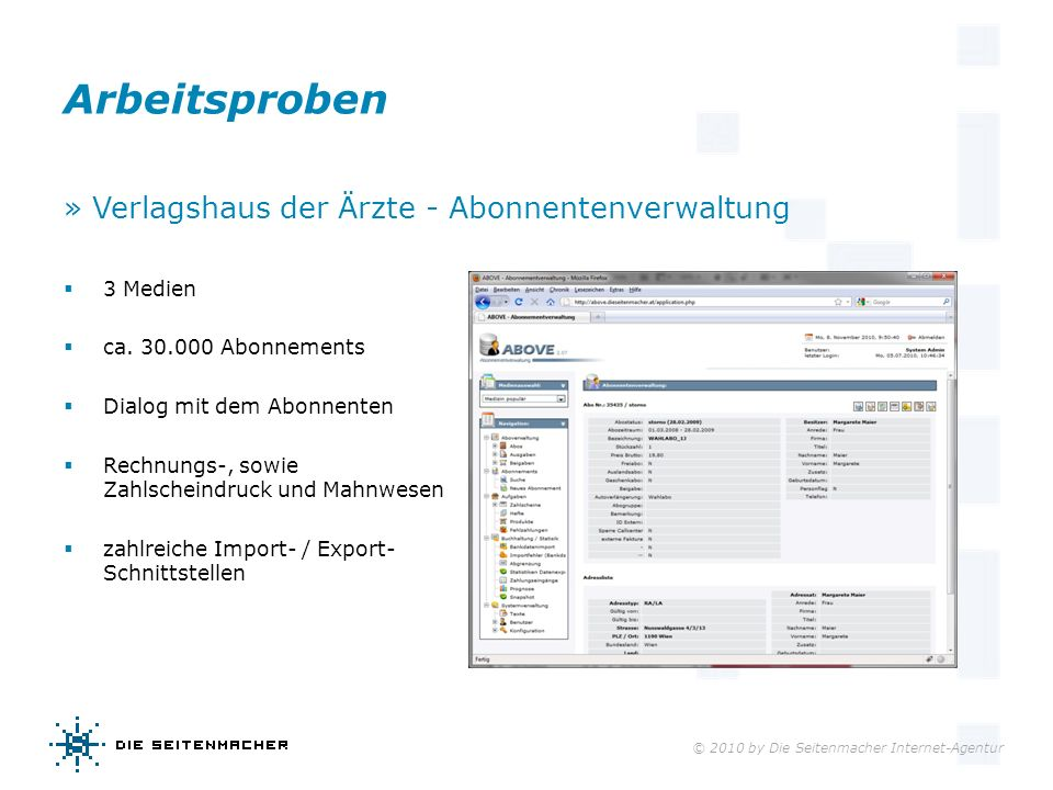 Arbeitsproben » Verlagshaus der Ärzte - Abonnentenverwaltung 3 Medien