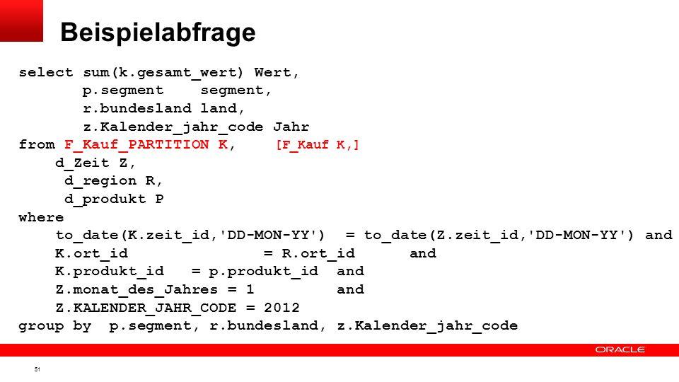 Beispielabfrage select sum(k.gesamt_wert) Wert, p.segment segment,