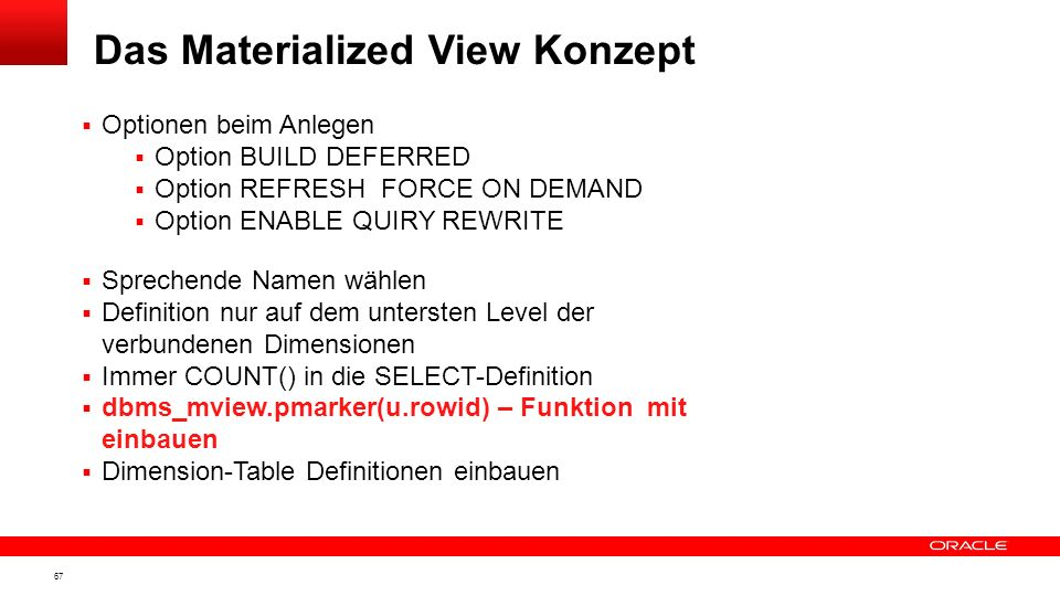 Das Materialized View Konzept