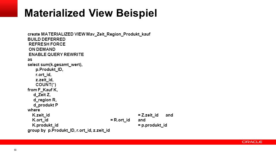 Materialized View Beispiel