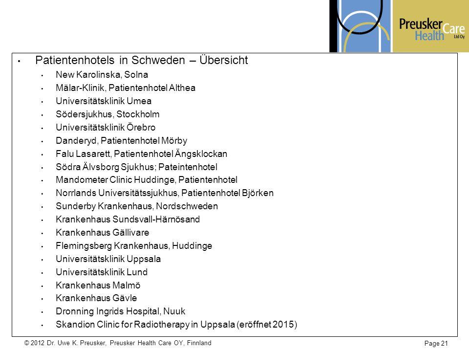 Patientenhotels in Schweden – Übersicht