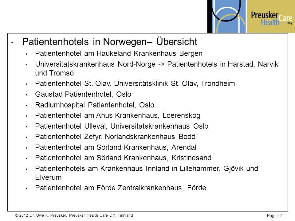 Patientenhotels in Norwegen– Übersicht