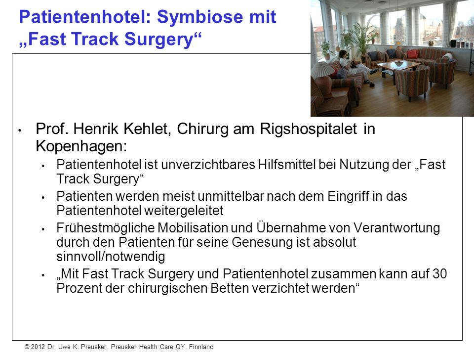 "Patientenhotel: Symbiose mit ""Fast Track Surgery"