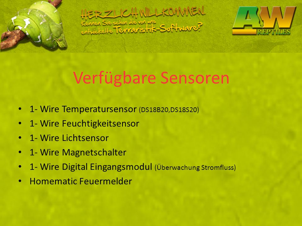 Verfügbare Sensoren 1- Wire Temperatursensor (DS18B20,DS18S20)