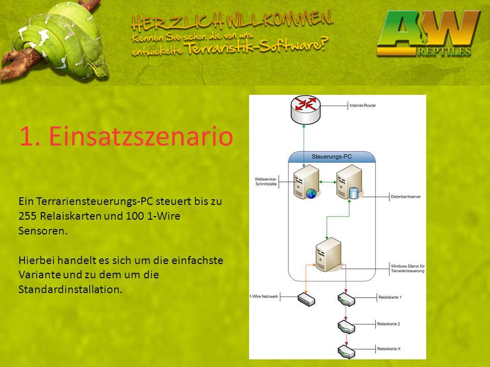 1. Einsatzszenario Ein Terrariensteuerungs-PC steuert bis zu 255 Relaiskarten und 100 1-Wire Sensoren.