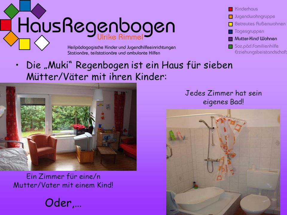 """Die """"Muki Regenbogen ist ein Haus für sieben Mütter/Väter mit ihren Kinder:"""