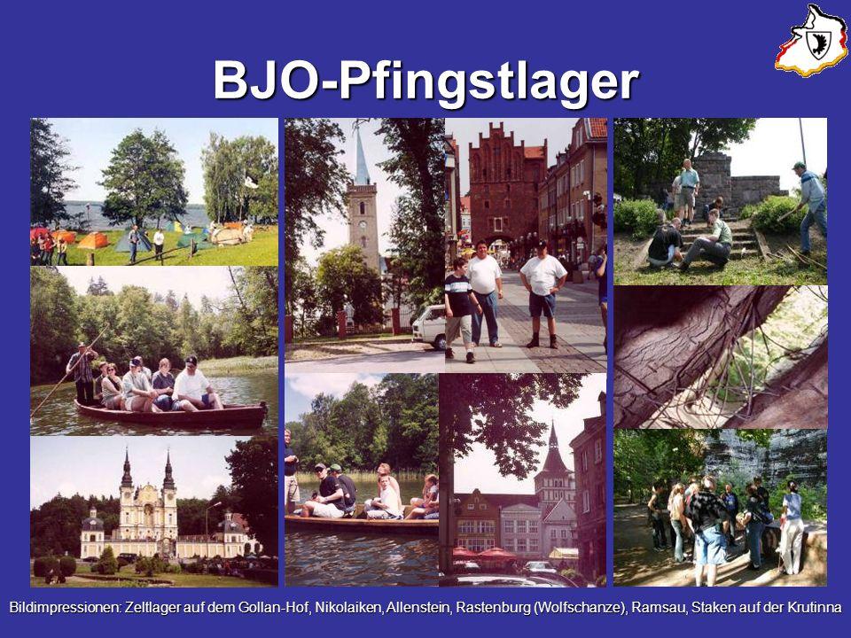 BJO-Pfingstlager Bildimpressionen: Zeltlager auf dem Gollan-Hof, Nikolaiken, Allenstein, Rastenburg (Wolfschanze), Ramsau, Staken auf der Krutinna.