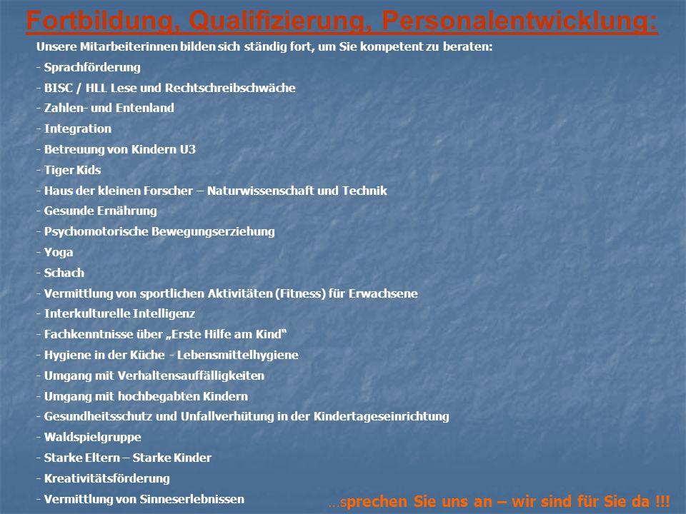 Fortbildung, Qualifizierung, Personalentwicklung: