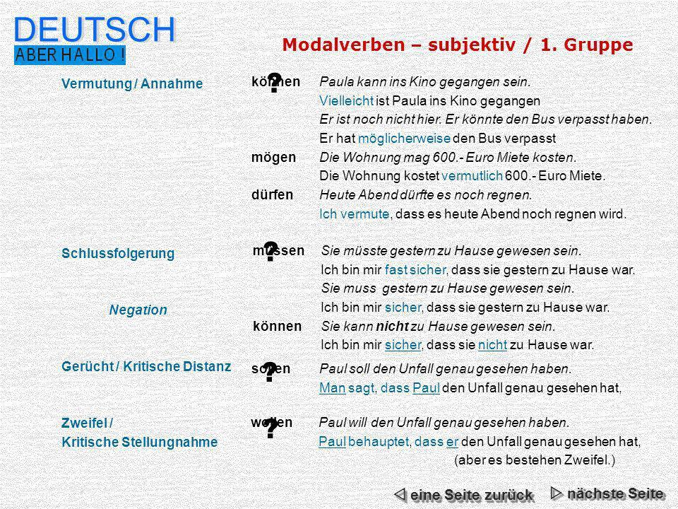 DEUTSCH Modalverben – subjektiv / 1. Gruppe