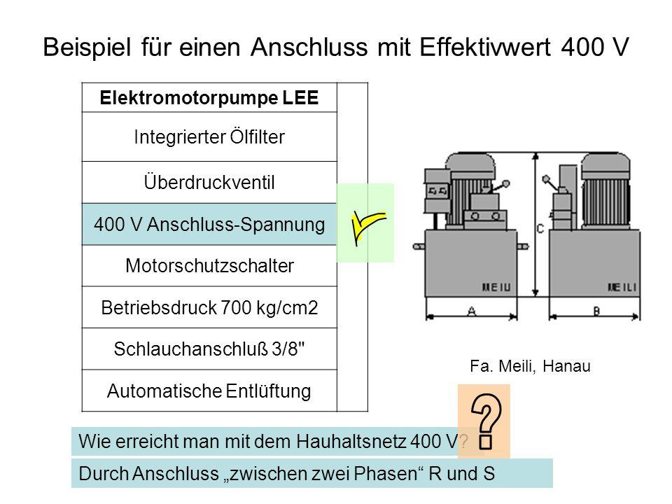 Beispiel für einen Anschluss mit Effektivwert 400 V