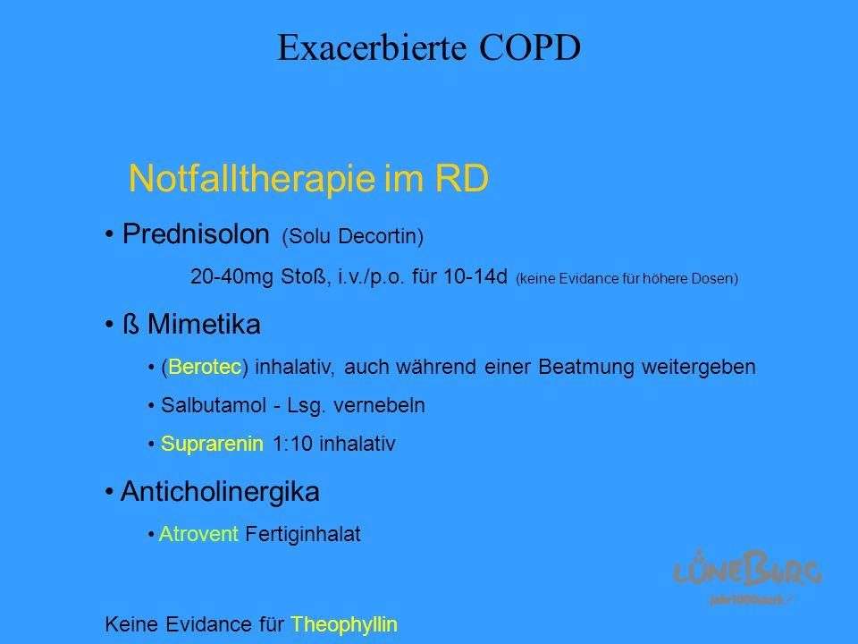 Exacerbierte COPD Notfalltherapie im RD Prednisolon (Solu Decortin)