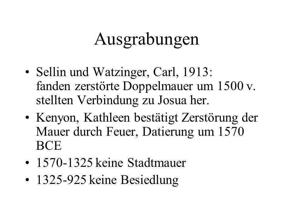 Ausgrabungen Sellin und Watzinger, Carl, 1913: fanden zerstörte Doppelmauer um 1500 v. stellten Verbindung zu Josua her.