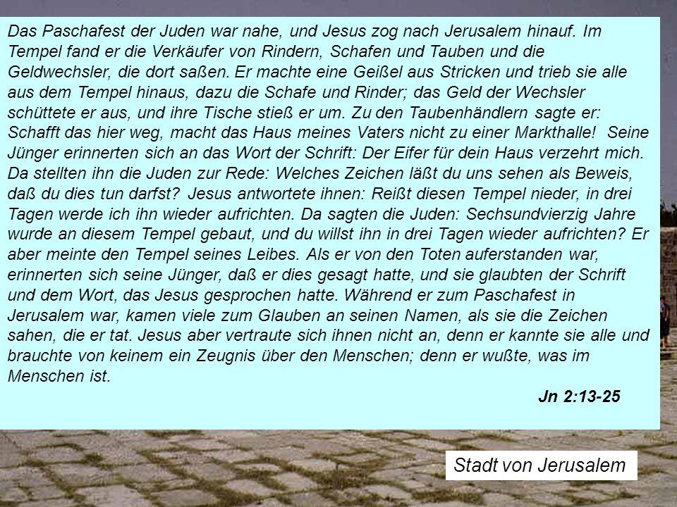 Das Paschafest der Juden war nahe, und Jesus zog nach Jerusalem hinauf