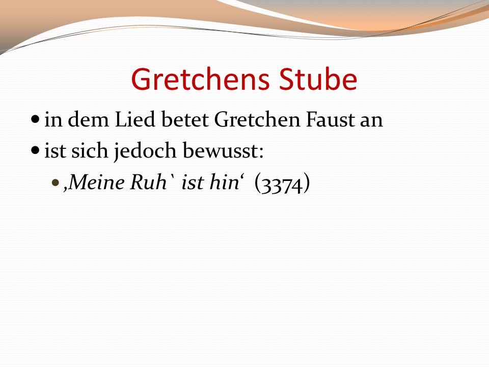 Gretchens Stube in dem Lied betet Gretchen Faust an