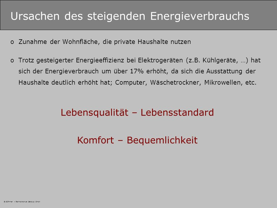 Ursachen des steigenden Energieverbrauchs