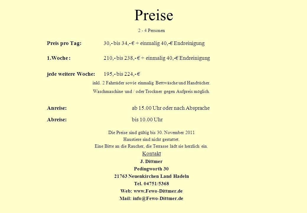 21763 Neuenkirchen Land Hadeln Mail: info@Fewo-Dittmer.de
