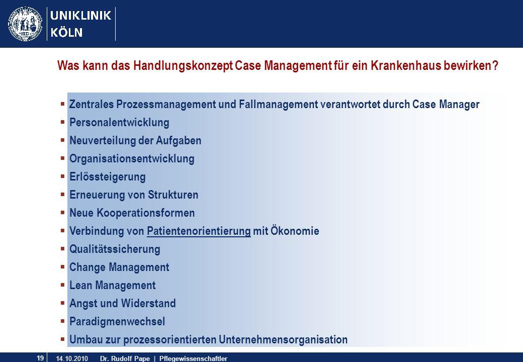 Was kann das Handlungskonzept Case Management für ein Krankenhaus bewirken