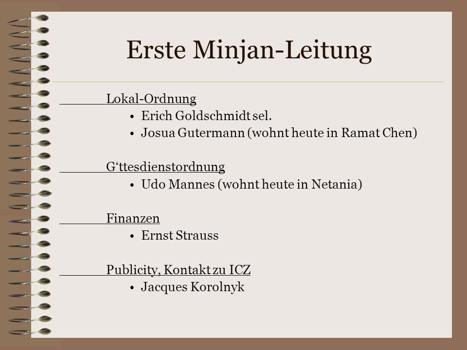Erste Minjan-Leitung Lokal-Ordnung Erich Goldschmidt sel.