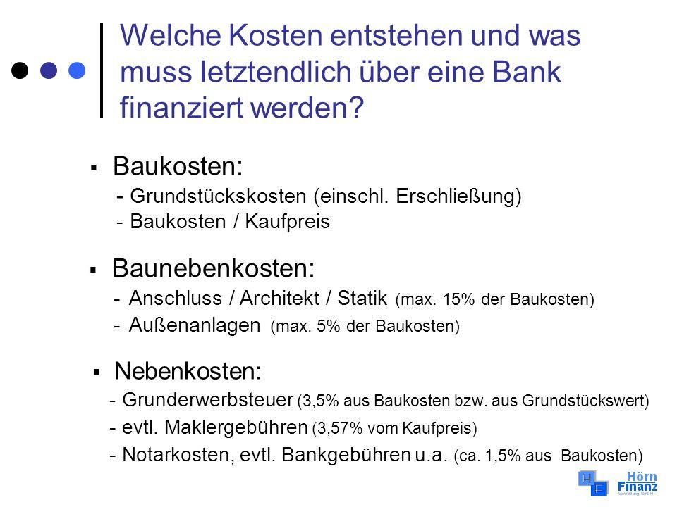 Welche Kosten entstehen und was muss letztendlich über eine Bank finanziert werden