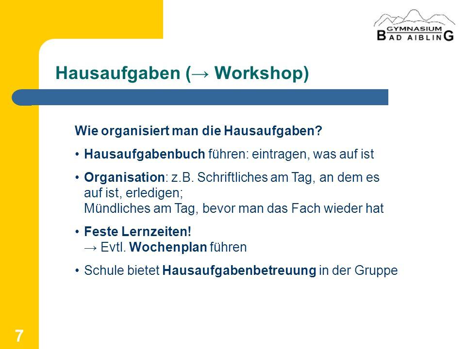 Hausaufgaben (→ Workshop)
