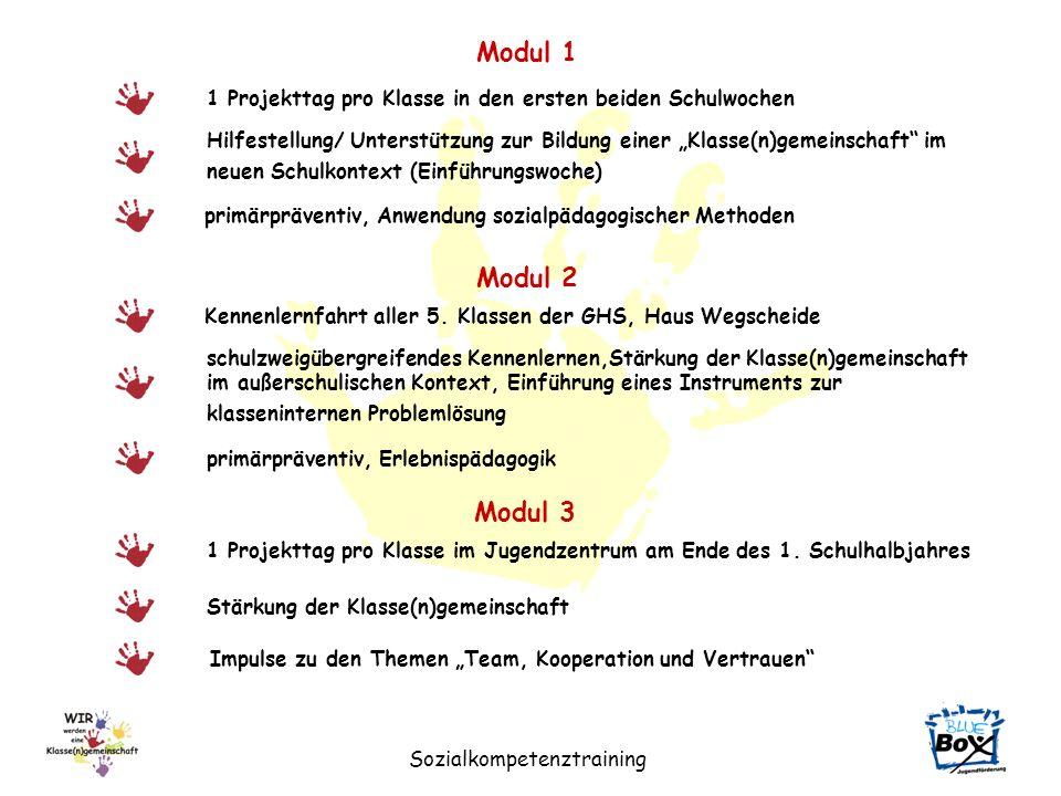 Modul 1 1 Projekttag pro Klasse in den ersten beiden Schulwochen.