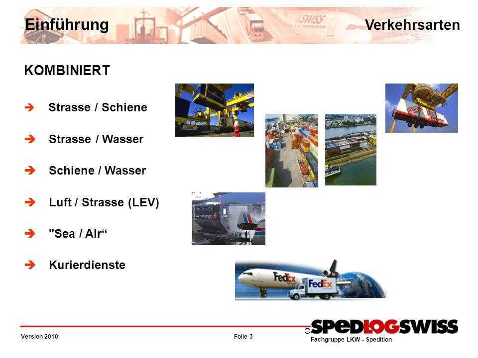 Einführung Verkehrsarten KOMBINIERT Strasse / Wasser Schiene / Wasser