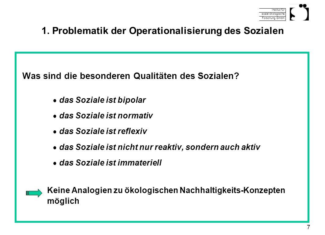 1. Problematik der Operationalisierung des Sozialen