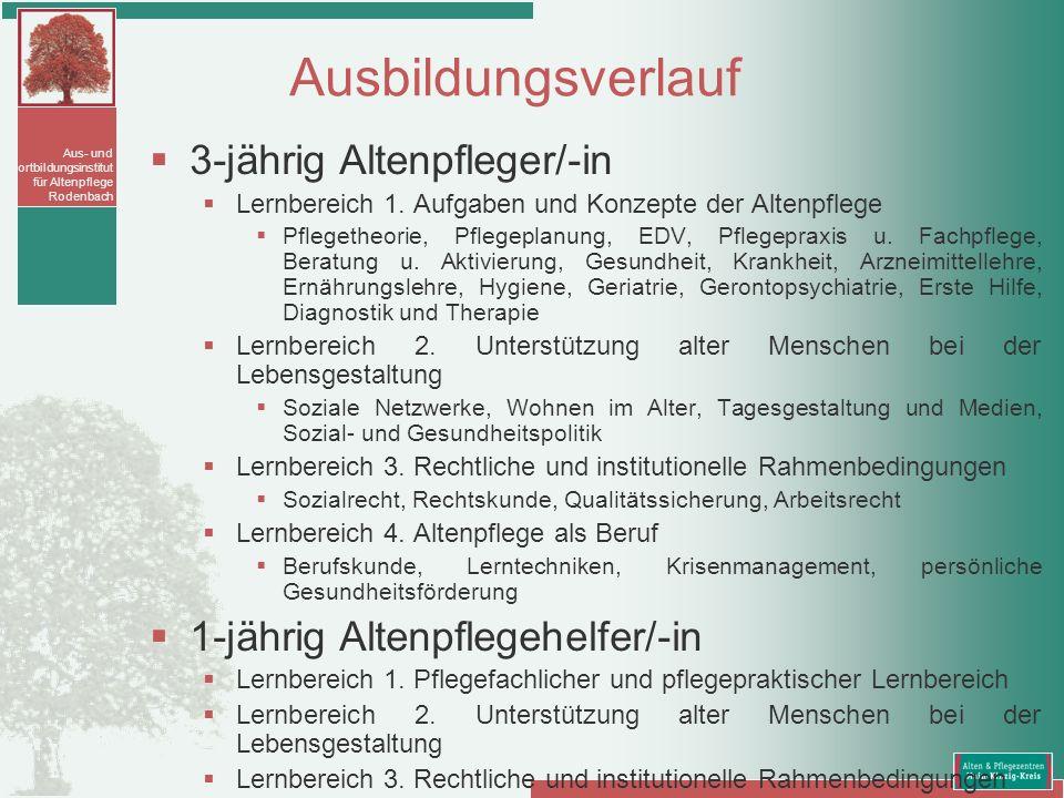 Ausbildungsverlauf 3-jährig Altenpfleger/-in