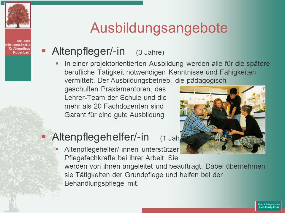 Ausbildungsangebote Altenpfleger/-in (3 Jahre)