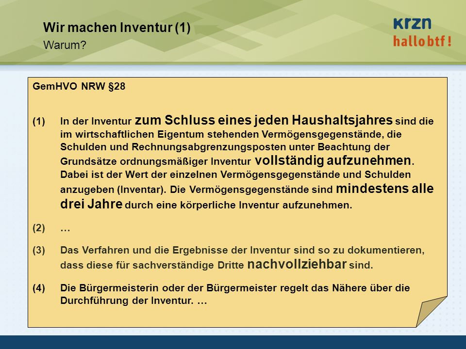 Wir machen Inventur (1) Warum GemHVO NRW §28