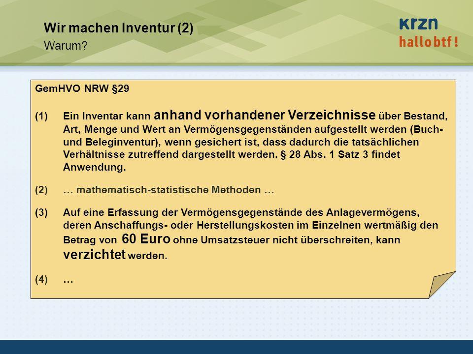 Wir machen Inventur (2) Warum GemHVO NRW §29