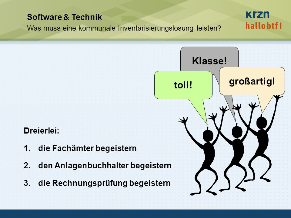 Klasse! großartig! toll! Software & Technik Dreierlei: