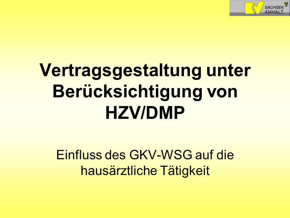 Vertragsgestaltung unter Berücksichtigung von HZV/DMP