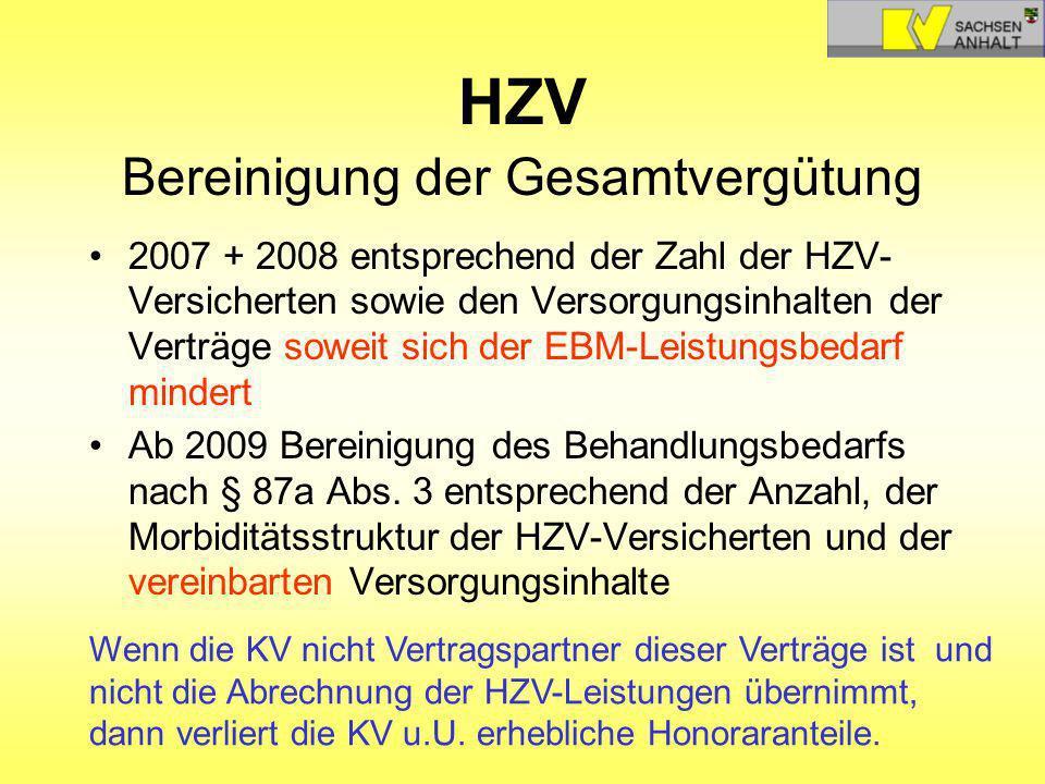 HZV Bereinigung der Gesamtvergütung