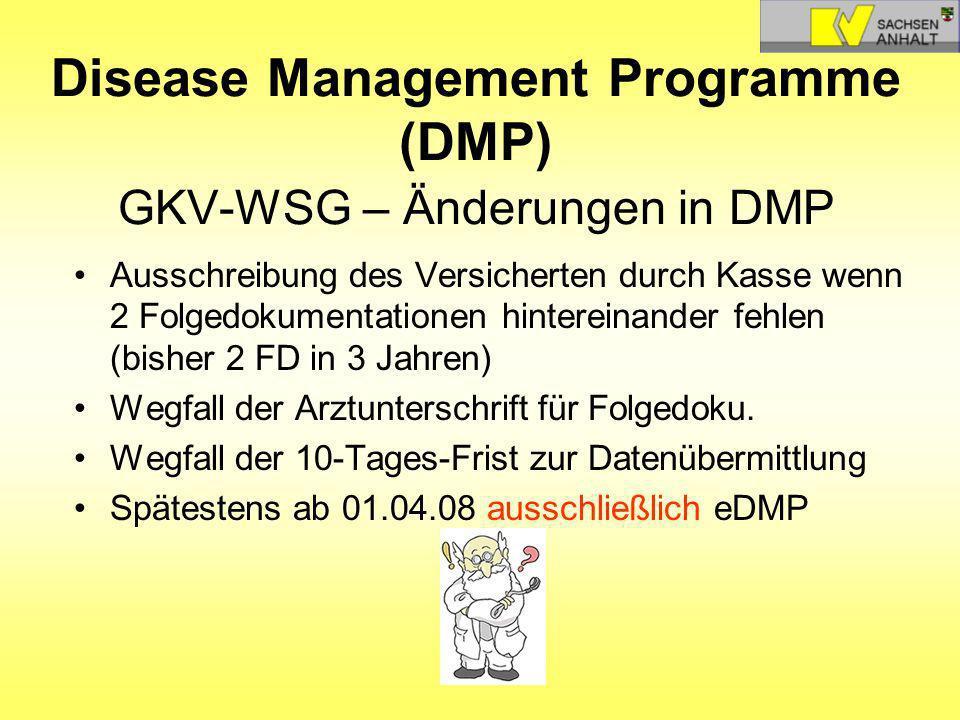 Disease Management Programme (DMP) GKV-WSG – Änderungen in DMP