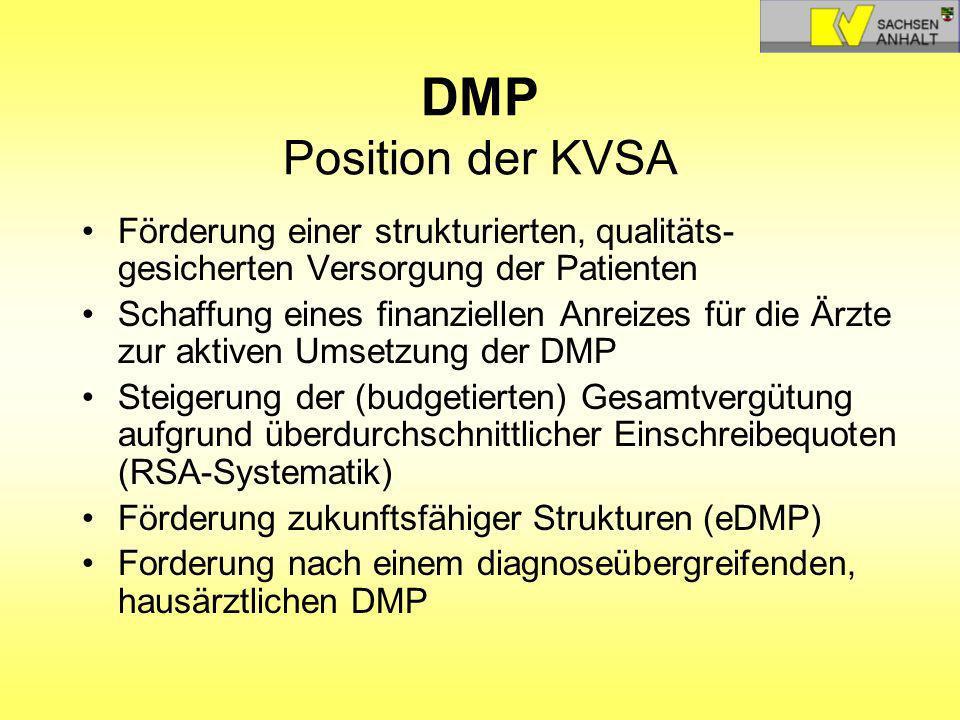 DMP Position der KVSA Förderung einer strukturierten, qualitäts-gesicherten Versorgung der Patienten.