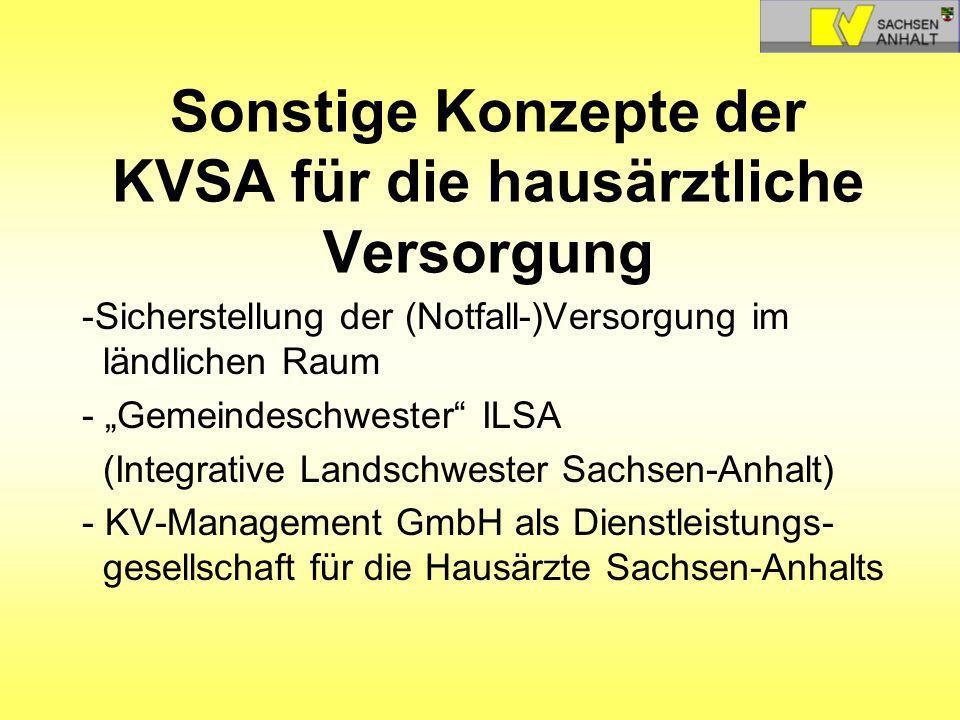 Sonstige Konzepte der KVSA für die hausärztliche Versorgung