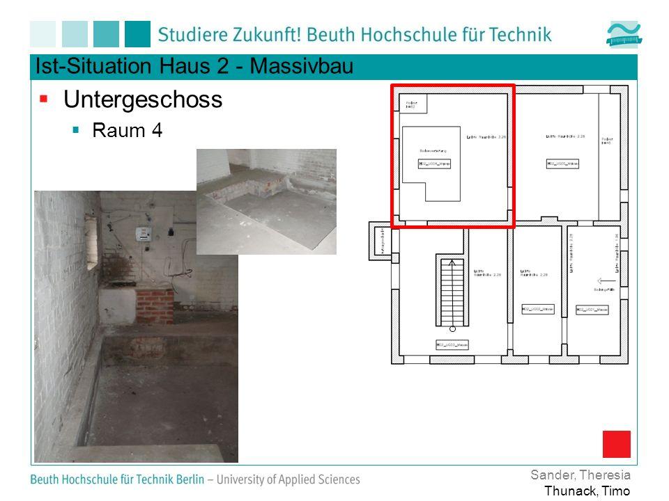 Untergeschoss Ist-Situation Haus 2 - Massivbau Raum 4 Sander, Theresia