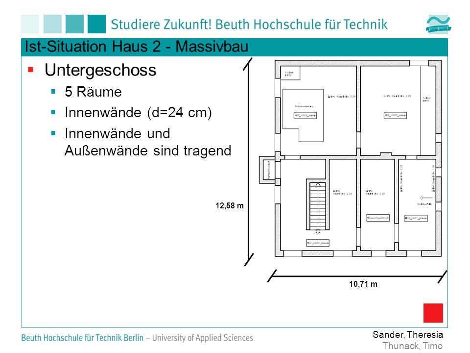 Untergeschoss Ist-Situation Haus 2 - Massivbau 5 Räume