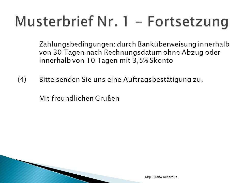 Musterbrief Nr. 1 - Fortsetzung