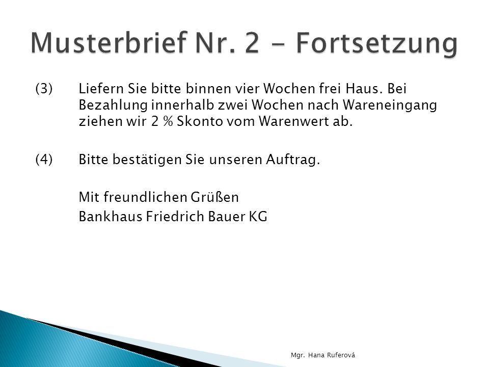 Musterbrief Nr. 2 - Fortsetzung