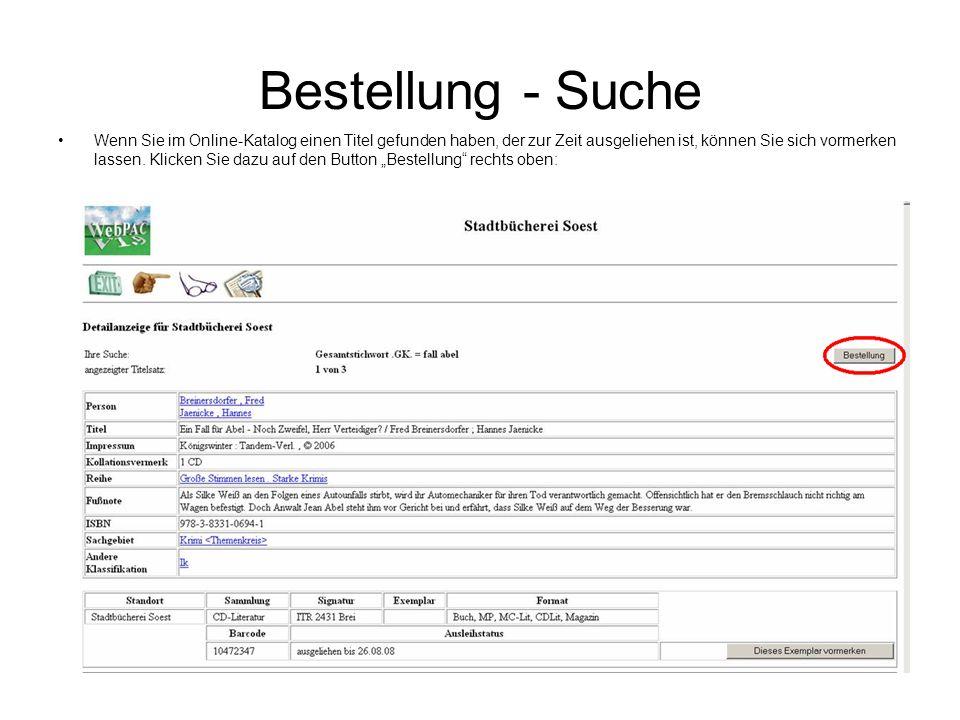 Bestellung - Suche