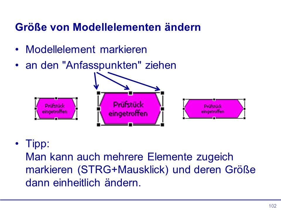 Größe von Modellelementen ändern
