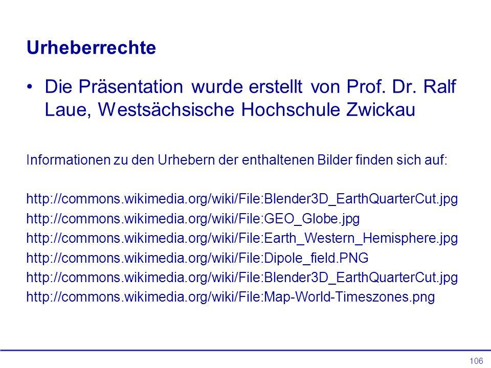 Urheberrechte Die Präsentation wurde erstellt von Prof. Dr. Ralf Laue, Westsächsische Hochschule Zwickau.